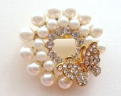 Gold Pearl Rhinestone Flat Back DIY Embellishment or Brooch Pin Clear Crystal Pearl Butterfly Broach Gold Pearl Brooch Bouquet Supply  gpr2