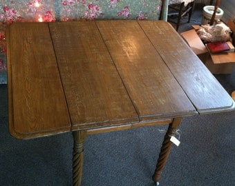 Antique Chestnut & Oak Drop Leaf Table with Rope Twist Legs