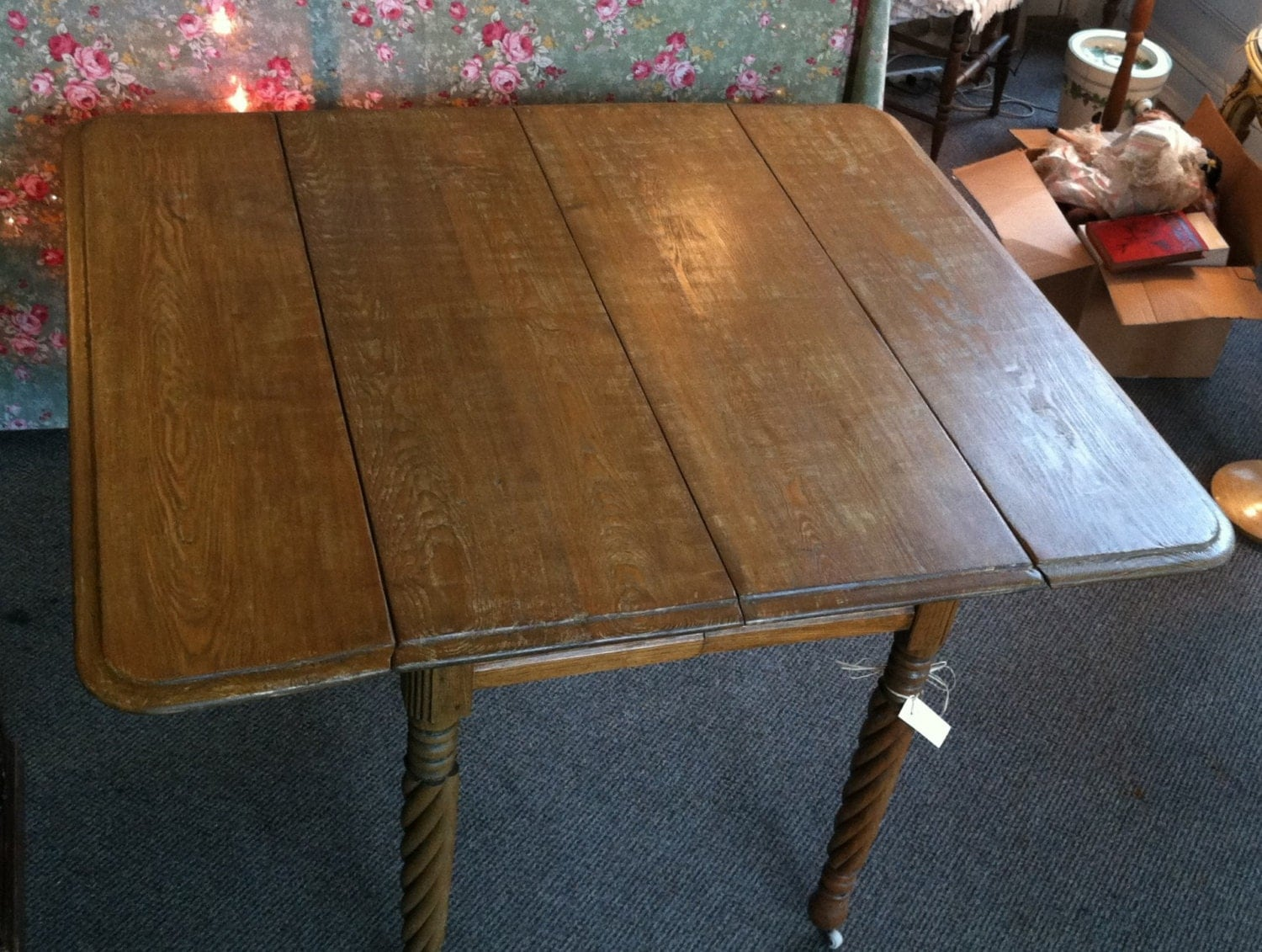 Antique Chestnut Amp Oak Drop Leaf Table With Rope Twist Legs