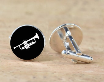 Trumpet cufflinks - Gift for men - Musicians -Silver plated accessories