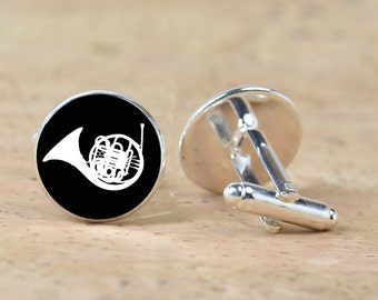 French Horn cufflinks - Gift for men - Musicians -Silver plated accessories