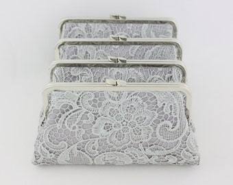Grey Lace Bridesmaid Clutches / Lace Wedding Clutches / Wedding Gift / Bridal Clutch Set - Set of 4
