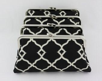 Black & White Bridesmaid Clutches / Black Wedding Clutches / Wedding Gift Purse - Set of 4