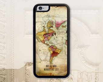 Vintage map phone case iPhone 4 4S 5 5s 5C 6 6+ Plus, Samsung Galaxy s3 s4 s5 s6, Not all who wander are lost, Nautical phone cover, V1880