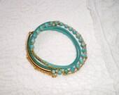 wrap bracelet leather turquoise bracelet layered bracelet green bracelet stacking bracelet teal bracelet blue stack bracelet Free Shipping