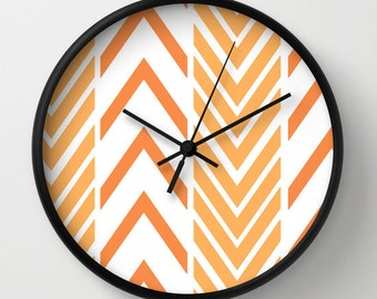 Orange Wall Clock - Orange Arrow Wall Clock - Choice of Frame Color - Wall Decor - Orange and White - Made to Order