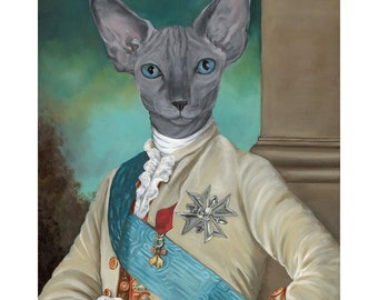 Sphinx Cat Prints, Louis XVI,  Cats in Clothes Art, Hairless Cat