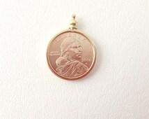 2000  P Sacagawea Gold Dollar Pendant , Sacajawea Pendant