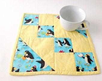 Penguin Mini Quilt, Blue Table Mat, Yellow Table Mat, Penguin Hot Pad, Musical Penguins, Candle Mat, Blue Yellow Quilt