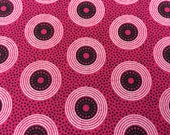 """Shweshwe Fabric--Da Gama """"Three Cats""""--Made in South Africa--Hot Pink and Black LP's--South African Shweshwe Fabric by the HALF YARD"""