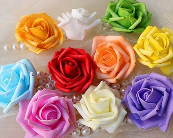 100 Pomander Kissing Ball Flowers 6-7cm Foam Rose Heads Various Colors Wedding Home Decorative flowers
