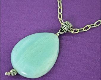 SALE now 60 was 70.   Teardrop Green Jade Necklace
