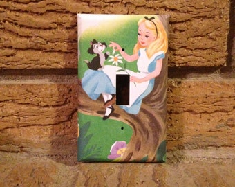 Alice and Dina Light Switch Cover, Alice in Wonderland Decoration, Alice in Wonderland Nursery, ALI27