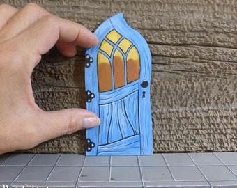 Crooked Fairy Door Tooth Fairy Door Stained Glass Window Miniature Magic Door Art Acrylic Painting on Wood Blue Pink Red Teal Purple