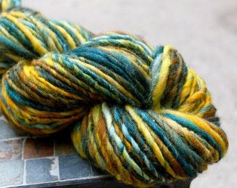 Handspun Bulky Yarn, Corriedale Yarn, Corriedale, Gentle Thick and Thin, 97 yards