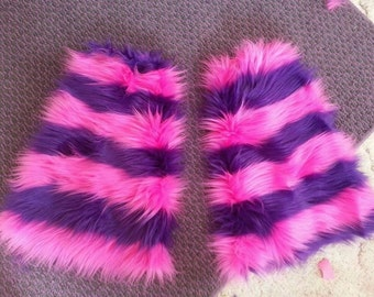 Cheshire Cat Striped Fluffies .. Boot covers .. rave club festivals