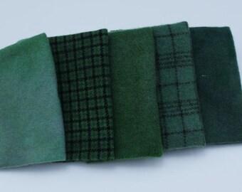 Juniper Hand-dyed Wool Bundle for Rug Hooking, Applique.