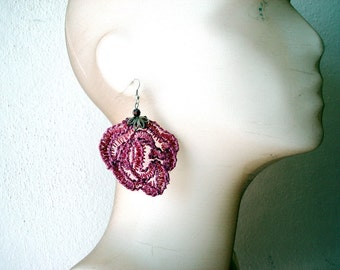 Lace Rose Earrings, Flower Earrings, Dangle Earrings, Rose Jewelry, Rose LaceEarrings