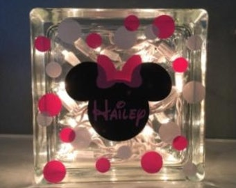Glass Block Night Light with Minnie Inspired Name