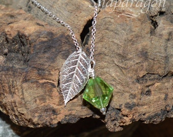 PMC fine silver leaf pendant with crystal drop necklace.