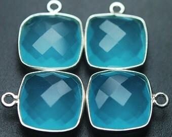 925 Sterling Silver,ONE LOOP,Aqua Blue Quartz Faceted Cushion Shape Pendant,5 Piece 16mm