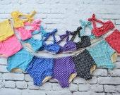Girls retro polka dot high waist bikini two piece kids sizes 2-12 choose your color