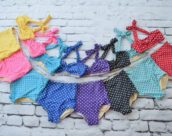 Girls retro polka dot high waist bikini two piece kids sizes 2-12 choose your color