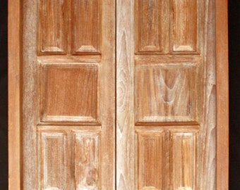 "30""x96"" Pair Antique STRIPPED Pre-Hung SOLID Teak Wood Entry Double Doors Frame"