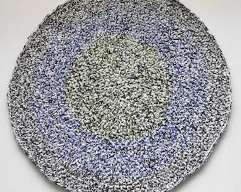Round Black, White, Green, Blue, Gray, Wool Area Rug - Handmade