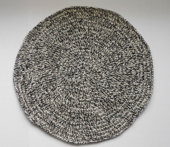 Round Rag Rug Black And White: 7' Round Beige Black And White Wool Rug By CrochetxKnit On
