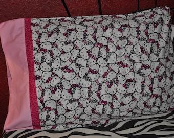 Handmade standard sz pillowcase Hello Kitty & Cheetah print