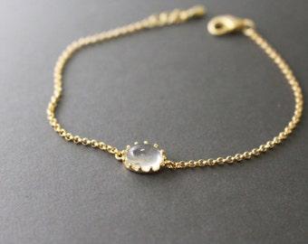 Gold framed glass dainty bracelet // Clear