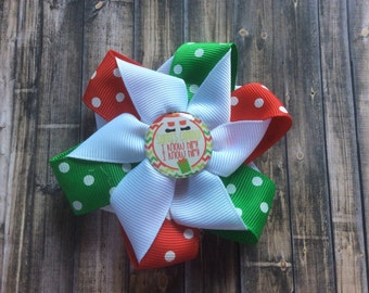 Boutique hair bow - hair accessory - clip - grosgrain ribbon - christmas bottle cap image - Christmas - holiday - trendy - fashion
