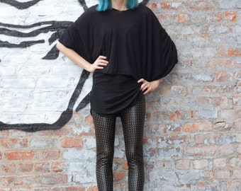 Black perforated vinyl leggings