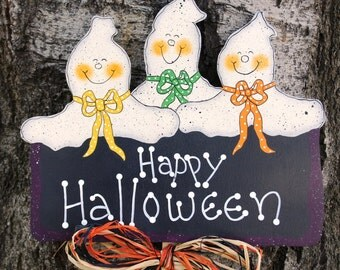 Halloween Ghost Wood Yard Stake - Sign Decoration - Wall or Door Hanging
