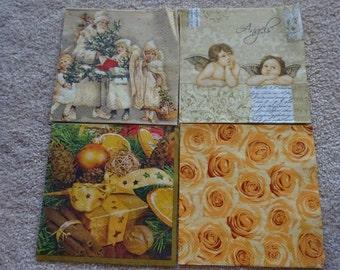 Set of 4  - Decoupage napkins