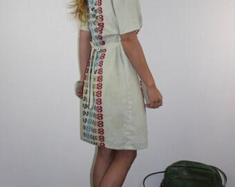 Vintage Cotton Dress Summer Shift BOHO M