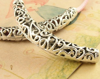 5pcs  Antique Silver Large Curved Tube Bead -filigree tube spacer beads Jewelry making Supplies