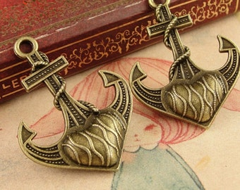 10pcs Antique Bronze Anchor charm Nautical Alloy pendants