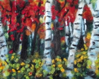"Fall Autumne birch trees needle felt painting. 12""by16"""