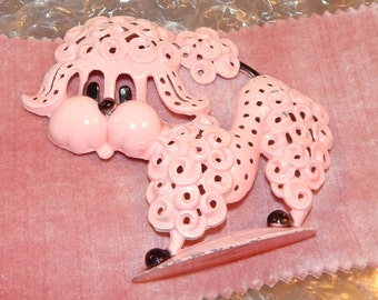Pink Enamel Poodle with black Features  Earring Holder by Revere Inc.,Metal, Vanity accessories Jewelry Holder