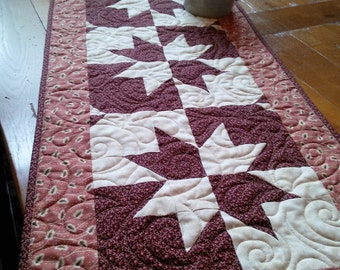 Rustic Eight Point Stars Quilted Tablerunner