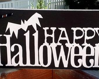 Happy Halloween, Halloween Decoration, Halloween Sign, Wood Sign, Home Decor