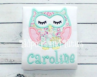 Owl Applique Tshirt, Tee or Bodysuit- Personalized Owl Applique-