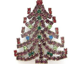 Vintage Brooch Czech Chrystal Christmas Tree, Vintage Jewelry  Christmas Pin