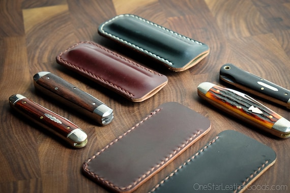 Pocket knife slip case in Horween shell cordovan fits GEC patterns #15, #83, #77 and others - burgundy #8