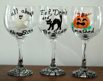 Halloween Hand Painted Wine Glasses Witch Cat Ghost Pumpkin