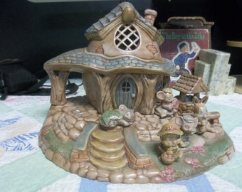 20.00 OFF! Vintage Ceramic Woodland Cottage with Mice, Rabbits, and Ducks T
