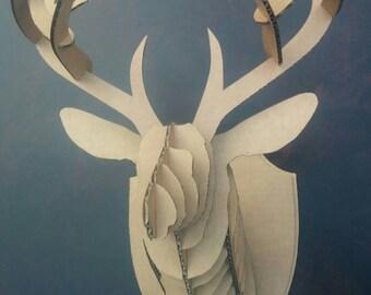 3D Cardboard Interlocking Deer Head
