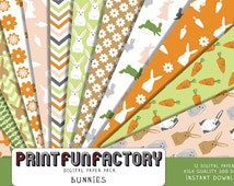 Bunny digital paper - Bunnies digital background paper  - 12 digital papers (#173) INSTANT DOWNLOAD